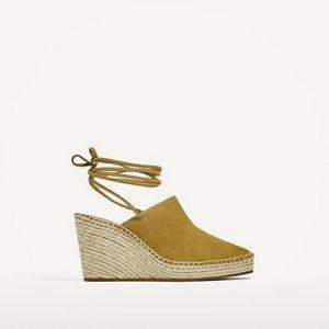 Zara tied leather wedge (2564)